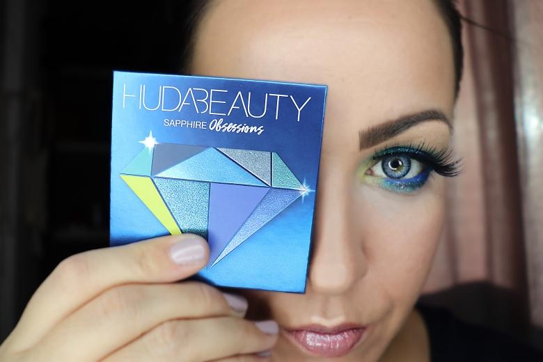 Huda Beauty sapphire palette makeup blue makeup maquillage bleu
