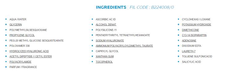 liste des ingredients