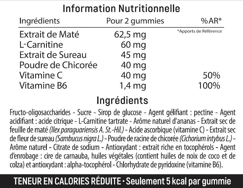 information nutrionnelle des gummies good slim de lashilé